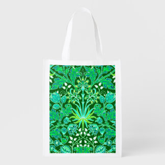 William Morris Hyacinth Print, Emerald Green Reusable Grocery Bag