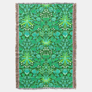 William Morris Hyacinth Print, Emerald Green Throw Blanket