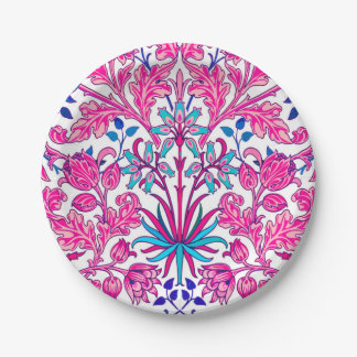 William Morris Hyacinth Print, Fuchsia Pink Paper Plate