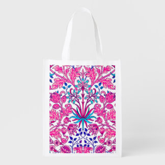 William Morris Hyacinth Print, Fuchsia Pink Reusable Grocery Bag