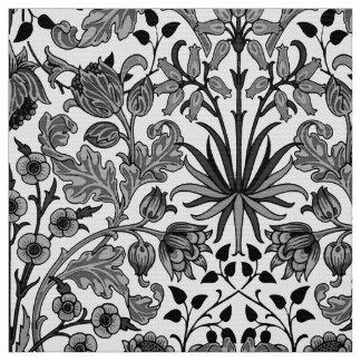 William Morris Hyacinth Print, Gray, Black & White Fabric