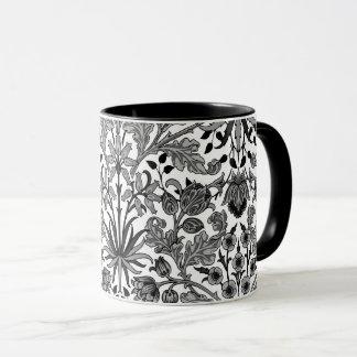 William Morris Hyacinth Print, Gray, Black & White Mug