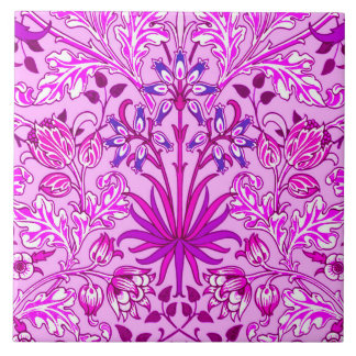 William Morris Hyacinth Print, Lavender and Violet Ceramic Tile