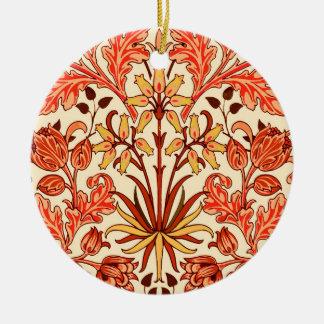 William Morris Hyacinth Print, Orange and Rust Ceramic Ornament