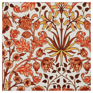 William Morris Hyacinth Print, Orange and Rust Fabric
