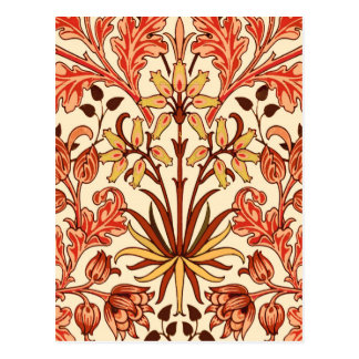 William Morris Hyacinth Print, Orange and Rust Postcard