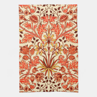 William Morris Hyacinth Print, Orange and Rust Tea Towel