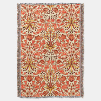 William Morris Hyacinth Print, Orange and Rust Throw Blanket