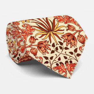 William Morris Hyacinth Print, Orange and Rust Tie