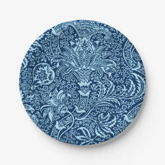 William Morris Indian, Dark Indigo and Sky Blue Paper Plate