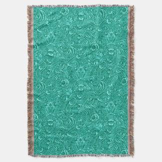 William Morris Indian, Turquoise and Light Aqua Throw Blanket