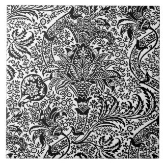 William Morris Indian, White and Black Tile