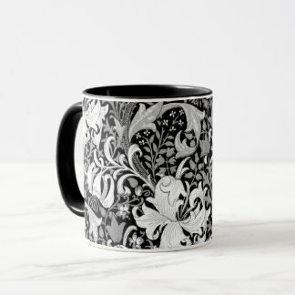 William Morris Iris and Lily, Black and White Mug