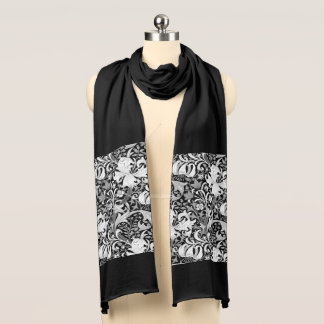 William Morris Iris and Lily, Black and White Scarf