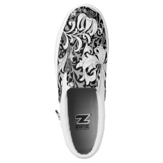 William Morris Iris and Lily, Black and White Slip On Shoes