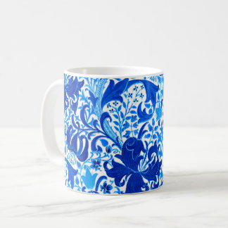 William Morris Iris and Lily, Cobalt Blue Coffee Mug