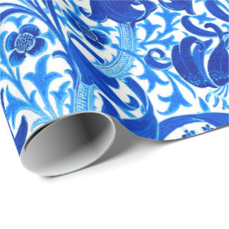 William Morris Iris and Lily, Cobalt Blue Wrapping Paper