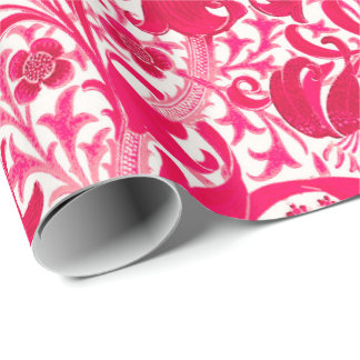 William Morris Iris and Lily, Fuchsia Pink Wrapping Paper
