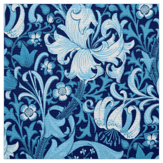 William Morris Iris and Lily, Indigo Blue Fabric