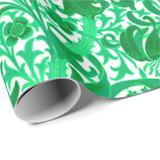 William Morris Iris and Lily, Jade Green Wrapping Paper