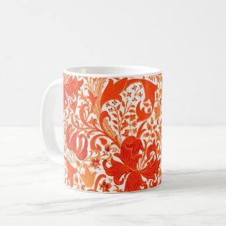 William Morris Iris and Lily, Mandarin Orange Coffee Mug