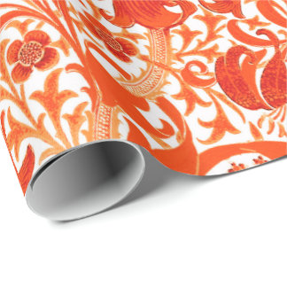 William Morris Iris and Lily, Mandarin Orange Wrapping Paper
