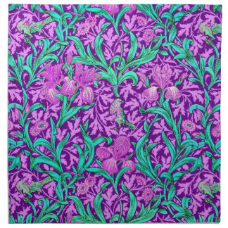 William Morris Iris Pattern, Amethyst Purple Napkin