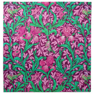 William Morris Iris Pattern, Fuchsia Pink and Wine Napkin