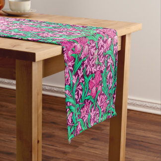 William Morris Iris Pattern, Fuchsia Pink and Wine Short Table Runner