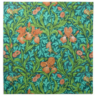 William Morris Iris Pattern, Orange and Turquoise Napkin