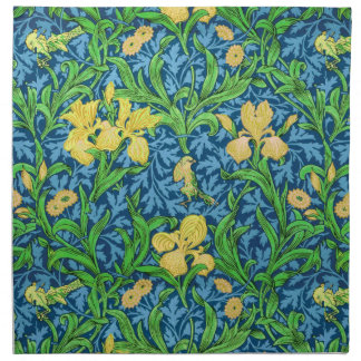 William Morris Iris Pattern, Yellow and Cobalt Blu Napkin