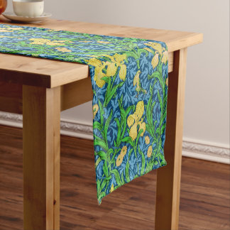 William Morris Iris Pattern, Yellow and Cobalt Blu Short Table Runner