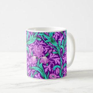 William Morris Irises, Amethyst Purple Coffee Mug