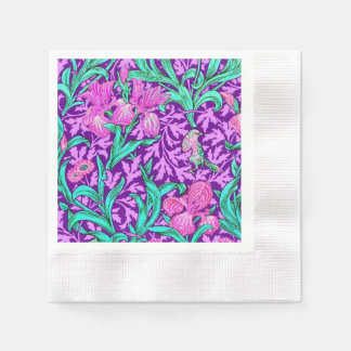 William Morris Irises, Amethyst Purple Disposable Serviette