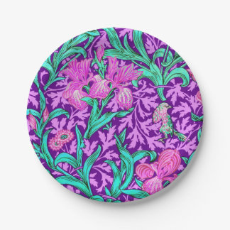 William Morris Irises, Amethyst Purple Paper Plate