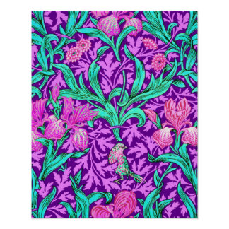 William Morris Irises, Amethyst Purple Poster