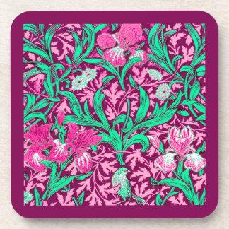 William Morris Irises, Fuchsia Pink and Wine Beverage Coasters