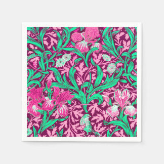 William Morris Irises, Fuchsia Pink and Wine Disposable Serviette