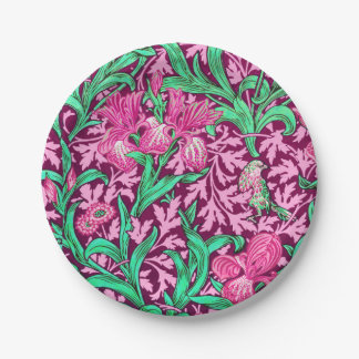 William Morris Irises, Fuchsia Pink and Wine Paper Plate