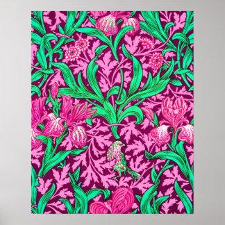 William Morris Irises, Fuchsia Pink and Wine Poster