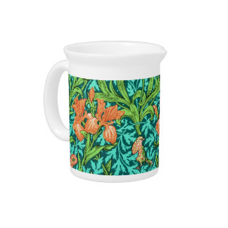William Morris Irises, Orange and Turquoise Beverage Pitcher