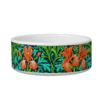 William Morris Irises, Orange and Turquoise Bowl