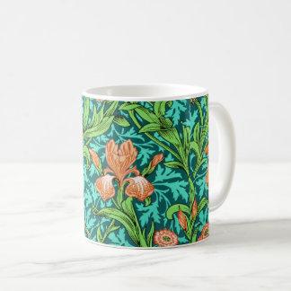 William Morris Irises, Orange and Turquoise Coffee Mug