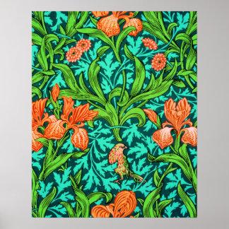 William Morris Irises, Orange and Turquoise Poster