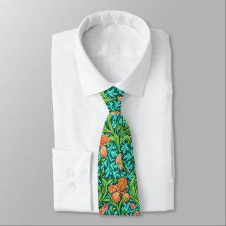William Morris Irises, Orange and Turquoise Tie