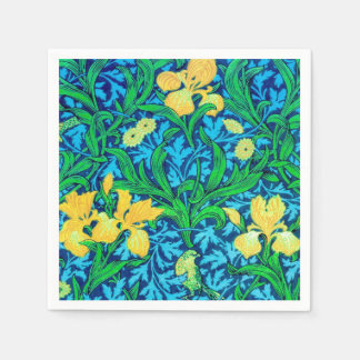 William Morris Irises, Yellow and Cobalt Blue Paper Napkin
