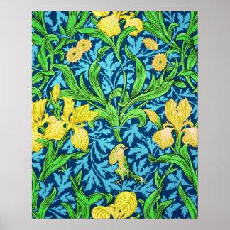 William Morris Irises, Yellow and Cobalt Blue Poster