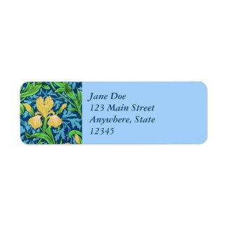 William Morris Irises, Yellow and Cobalt Blue Return Address Label