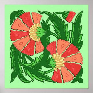 William Morris Jacobean, Coral Orange and Green Poster