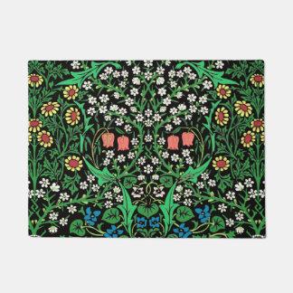 William Morris Jacobean Floral, Black Background Doormat